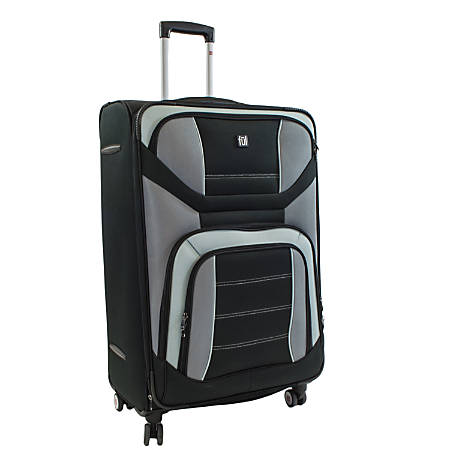 "ful Airways Series ABS Upright Rolling Suitcase, 29""H x 19 1/4""W x 10 3/4""D, Black/Gray"