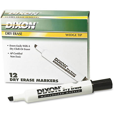 Ticonderoga Dry Erase Whiteboard Markers - Broad, Fine Marker Point - Wedge Marker Point Style - Black - 12 / Dozen
