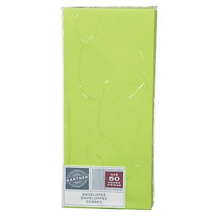 """Gartner Studios® Envelopes, 4 1/8"""" x 9 1/2"""", Lime, Pack Of 50"""