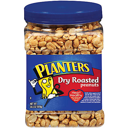 PLANTERS® Dry-Roasted Honey Peanuts, 34.5 Oz Tub