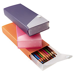 Office Depot® Brand Slider Pencil Box, Assorted Colors (No Color Choice)