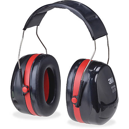 Peltor OPTIME 105 Twin Cup Earmuffs - Foldable, Comfortable, Lightweight, Low Linting - Noise, Noise Reduction Rating Protection - Stainless Steel Headband, Foam, Acrylonitrile Butadiene Styrene (ABS), Plastic - Black, Red - 1 Each