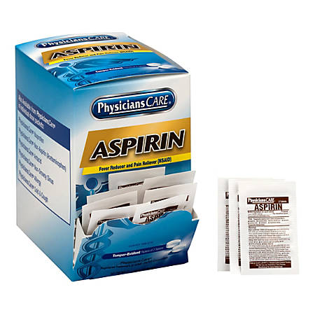 PhysiciansCare Aspirin Pain Reliever Medication, 2 Tablets Per Packet, Box Of 50 Packets