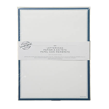"Gartner™ Studios Stationery, 8 1/2"" x 11"", Navy/White, Pack Of 100 Sheets"