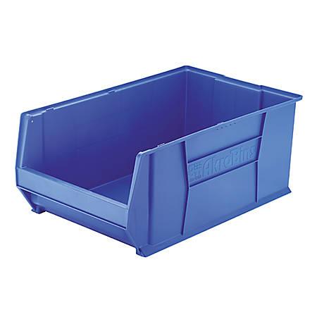"""Akro-Mils Heavy-Duty Stackable Storage Bin, 12"""" x 18 2/5"""" x 20, Blue"""
