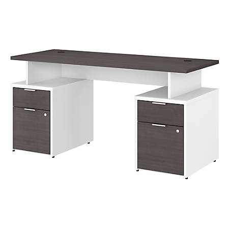 "Bush Business Furniture Jamestown Desk With 4 Drawers, 60""W, Storm Gray/White, Premium Installation"