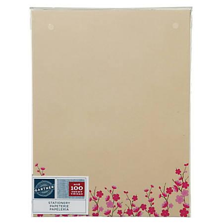 "Gartner™ Studios Stationery, 8 1/2"" x 11"", Ivory/Pink Flower, Pack Of 100 Sheets"