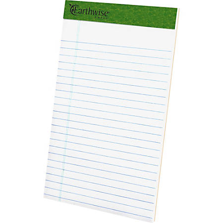 """TOPS Recycled Perforated Jr. Legal Rule Pads - 50 Sheets - 0.28"""" Ruled - 15 lb Basis Weight - 5"""" x 8"""" - Environmentally Friendly, Perforated - Recycled"""