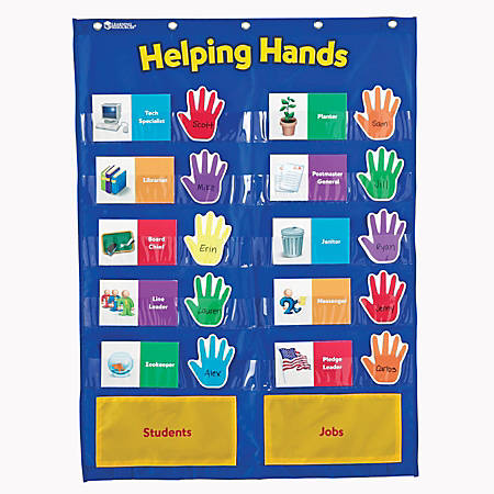 "Learning Resources Helping Hands Pocket Chart, 29 1/2"" x 22"", Blue/Yellow, Kindergarten - Grade 3"