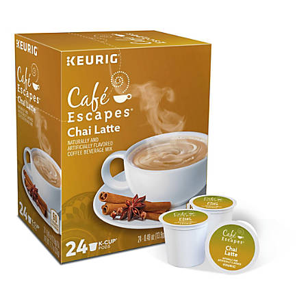 Cafe Escapes™ Chai Latte Coffee Single-Serve K-Cup®, Carton Of 24