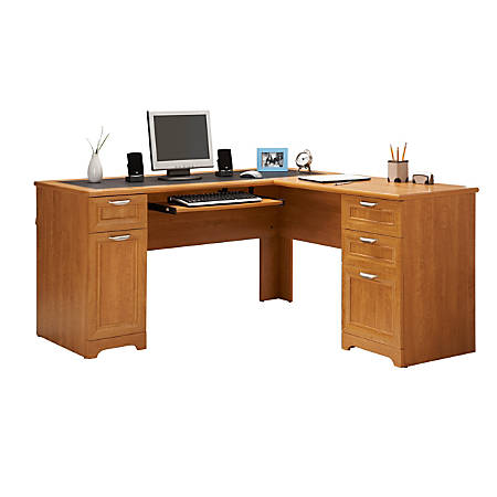 Realspace® Magellan Collection L-Shaped Desk, Honey Maple