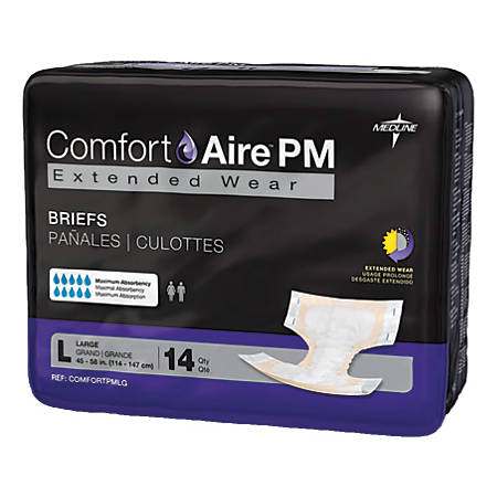 "ComfortAire PM Extended Wear Disposable Briefs, Large, 45 - 58"", Beige, 14 Briefs Per Bag, Case Of 4 Bags"