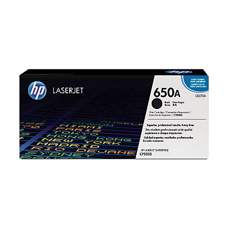 HP 650A, Black Original Toner Cartridge (CE270A)