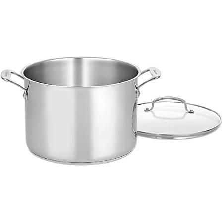 "Cuisinart 10 Qt. Stockpot w/Glass Cover - 10 quart 8"" Diameter Stockpot, Lid - Stainless Steel, Aluminum Base, Cast Stainless Steel Handle - Dishwasher Safe - Oven Safe - Stainless - Mirror"