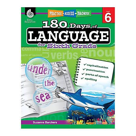 Shell Education 180 Days Of Language Workbook, Grade 6