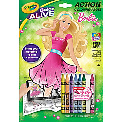 Crayola Color Alive Barbie Virtual Coloring Book With Crayons 8 X 11 - Crayola-color-alive-barbie