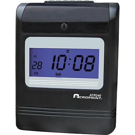 "Acrprint ATR240 Electronic Time Clock, 13.62"" x 10.88"" x 8.75"", Black"