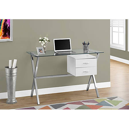 Monarch Specialties Glass Computer Desk With 2 Drawers, Glossy White/Chrome