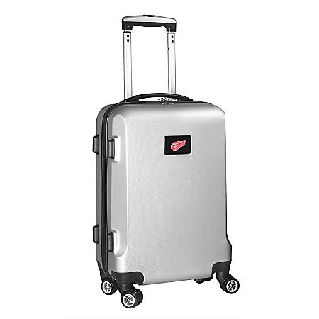 "Denco 2-In-1 Hard Case Rolling Carry-On Luggage, 21""H x 13""W x 9""D, Detroit Redwings, Silver"