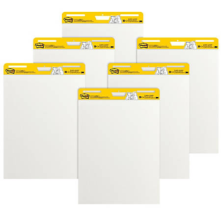 """Post-it® Super Sticky Easel Pads, 25"""" x 30"""", White, Pack Of 6 Pads"""