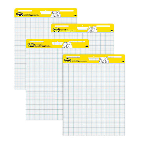 "Post-it® Super Sticky Easel Pads, 1"" Grid Lines, 25"" x 30"", White, Pack Of 4 Pads"