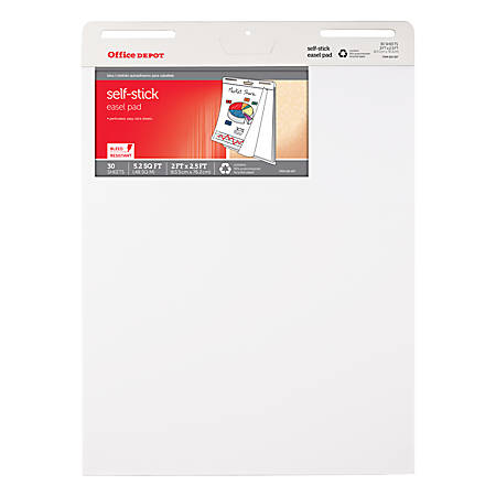 """Office Depot® Brand Bleed Resistant Self-Stick Easel Pads, 25"""" x 30"""", 30 Sheets, 30% Recycled, White, Pack Of 4"""