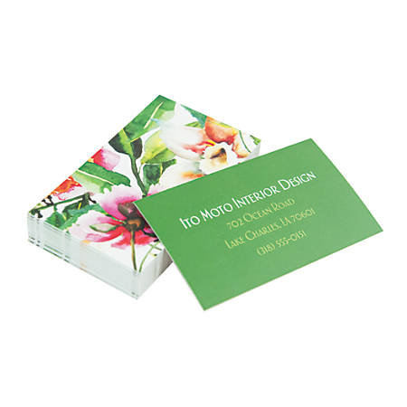 """Custom Full-Color Business Cards, 16 Pt Soft-Touch Laminate, 2"""" x 3-1/2"""", Printed 2-Sides, Square Corners, Box Of 250 Cards"""
