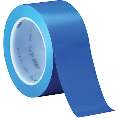 "3M™ 471 Vinyl Tape, 3"" Core, 2"" x 36 Yd., Blue, Case Of 24"