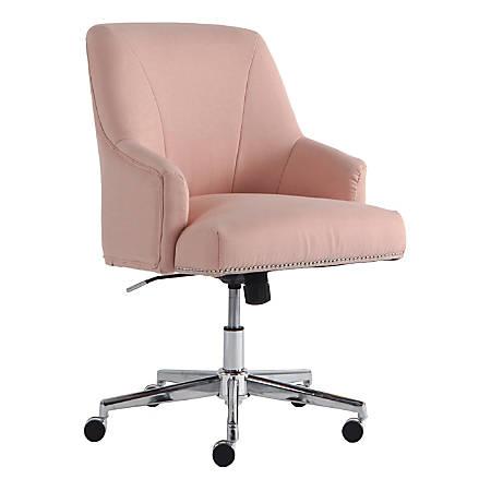 Serta Leighton Home Mid-Back Office Chair, Twill Fabric, Blush Pink/Chrome