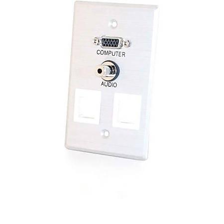 C2G VGA + 3.5mm Audio Pass Through Single Gang Wall Plate w/ 2 Keystones-Brushed Aluminum - 1-gang - 1 x Mini-phone Port(s) - 1 x VGA Port(s)