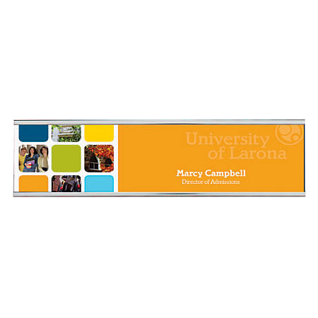 """Full-Color Wall Sign With Metal Flush Holder, 2"""" x 8"""""""
