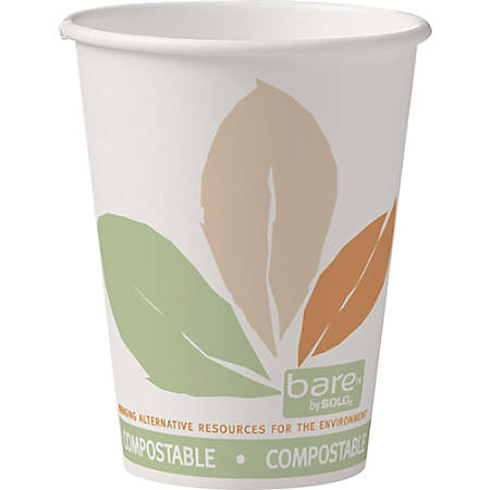 Bare PLA-lined Hot Cups - 12 fl oz - 1000 / Carton - White - Paper - Hot Drink