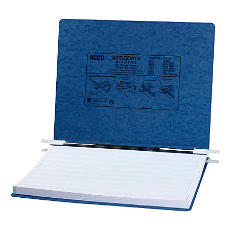 "Wilson Jones® Presstex® Data Binder With Retractable Hooks, 11"" x 14 7/8"", 60% Recycled, Dark Blue"