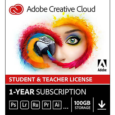 Adobe Creative Cloud Membership Full - 1 Year Student & Teacher Edition, Download Version