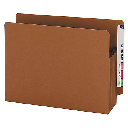 """Smead® End-Tab Extra-Wide File Pockets, 3-1/2"""" Expansion, Extra-Wide Letter Size, 100% Recycled, Redrope, Pack Of 25"""