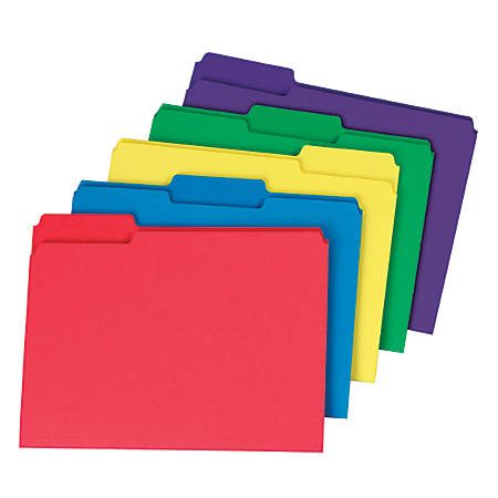 "Office Depot® Brand Heavyweight File Folders, 3/4"" Expansion, 1/3 Cut, Letter Size, Assorted Colors, Case Of 50"