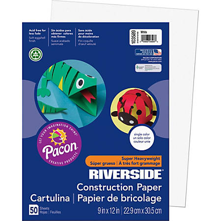 "Riverside® Groundwood Construction Paper, 100% Recycled, 9"" x 12"", White, Pack Of 50"