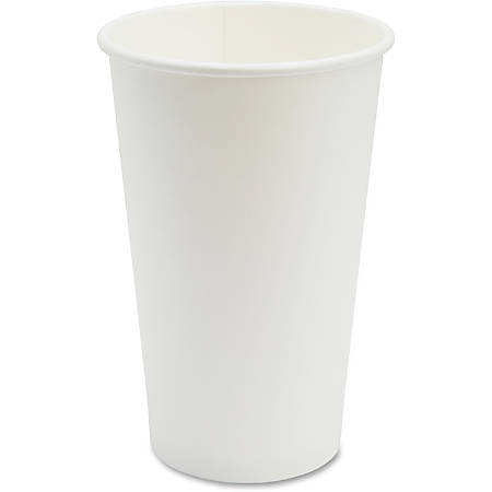 Genuine Joe Disposable Hot Cup - 16 fl oz - 50 / Pack - White - Coffee, Hot Drink