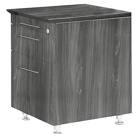 "Mayline Medina Series Return Pedestal, P/B/F - 18"" x 15"" x 26"", 1"" Top - 3 x Pencil Drawer(s), Box Drawer(s), File Drawer(s) - Beveled Edge - Material: Steel, Polyvinyl Chloride (PVC) Edge - Finish: Gray, Laminate, Silver"