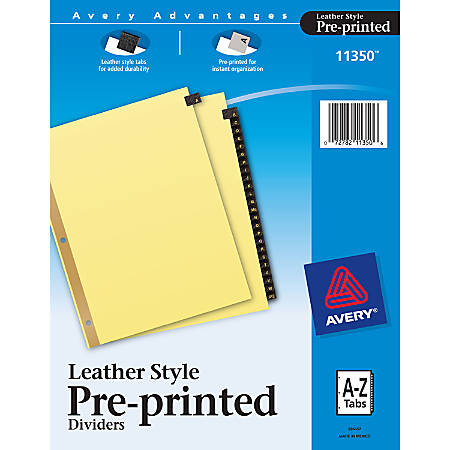 Avery® 30% Recycled Black Leather Tab Dividers, A-Z