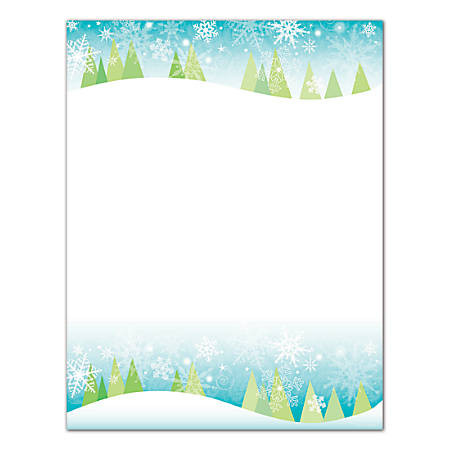 """Great Papers!® Snowy Trees Letterhead, 8 1/2"""" x 11"""", 50 Lb, Blue/Green/White, Pack Of 250"""