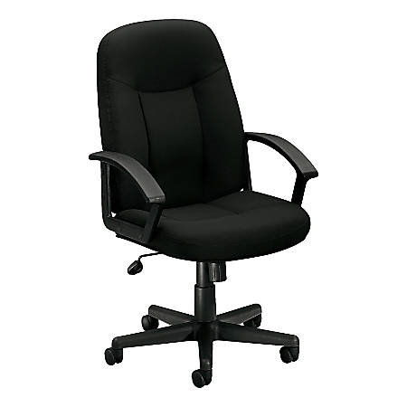 "basyx by HON® VL601 Mid-Back Swivel Chair, 43""H x 26""W x 33 1/2""D, Black"