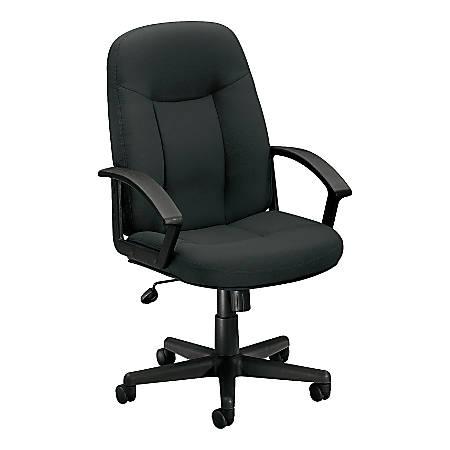 "basyx by HON® VL601 Mid-Back Swivel Chair, 43""H x 26""W x 33 1/2""D, Gray/Black"