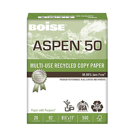 "Boise® ASPEN® 50 Multi-Use Paper, Letter Size (8 1/2"" x 11""), 20 Lb, 30% Recycled, FSC® Certified, Ream Of 500 Sheets"