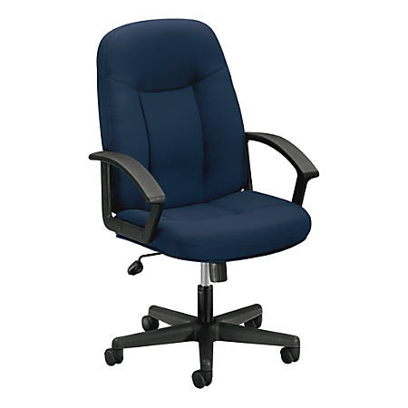 "basyx by HON® VL601 Mid-Back Swivel Chair, 43""H x 26""W x 33 1/2""D, Navy/Black"