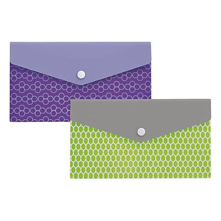 "Office Depot® Brand Polypropylene Envelope, 2"" Expansion, Check Size, Assorted Colors"