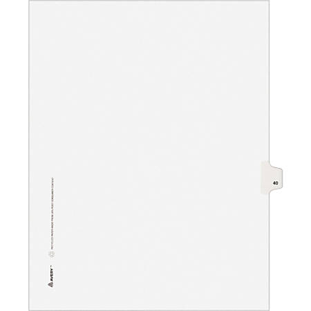 "Avery® Avery-Style Collated Legal Index Exhibit Dividers, 8 1/2"" x 11"", White Dividers/White Tabs, 40, Pack Of 25"