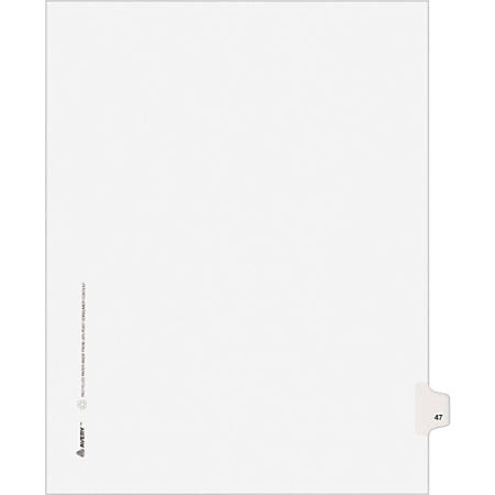 """Avery® Avery-Style Collated Legal Index Exhibit Dividers, 8 1/2"""" x 11"""", White Dividers/White Tabs, 47, Pack Of 25"""
