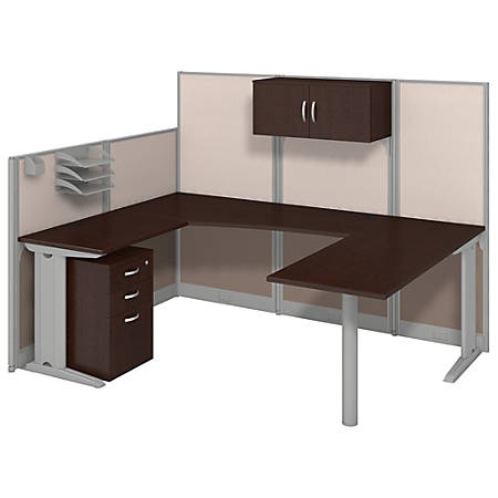 Bush Business Furniture Office In An Hour U Workstation with Storage & Accessory Kit, Mocha Cherry Finish, Premium Delivery