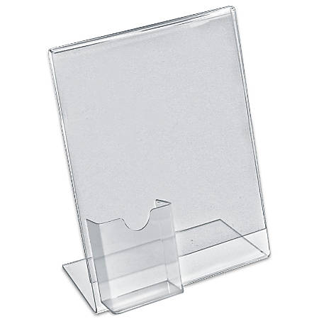 "Azar Displays L-Shaped Acrylic Sign Holders With Attached Tri-Fold Pockets, 11"" x 8 1/2"", Clear, Pack Of 10"